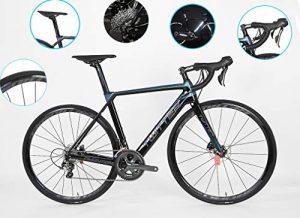 DUABOBAO Vélo de Route, vélo de Montagne 700C Ultra-léger en Fibre de Carbone 700K, 8,5 kg, adapté à la Taille de la Foule, Le Tout dans la File, 20 Vitesses,A,53CM