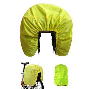Housse de pluie de vélo Auvstar – Pour sacs à l'arrière du vélo – 100 % étanche et imperméable – Pour sacs de ville, sacs à dos, sacoches et bagages – Ultralégère et pliable – Jaune