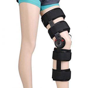 JTIHGNFG en Fibre de Carbone pour Le Genou réglable Genou Support Bandage Jambe Taille Adulte, with airbag, Droit
