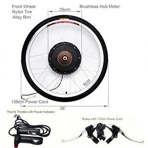Kit de conversion vélo électrique avec moteur de roue arrière 26″ 48V 1 000W par OUkANING