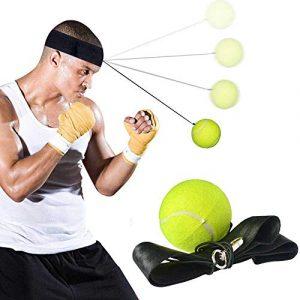 KOBWA Boxe Réflexe Ballon de Combat, Fight Ball Reflex Kit – Bandeau de Boxe avec Balle de Tennis de Boxe pour Tous Les âges de Combat Améliore Votre Vitesse, Coordination, Vos Réflexes