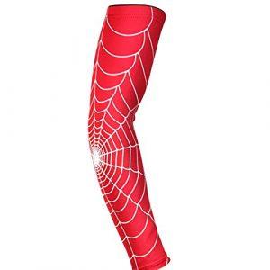 longyitrade – Manche de Sport pour Homme, Motif Toile d'araignée pour Le Tennis, Le Badminton, Le Sport, Le coude, Le Bras L Red