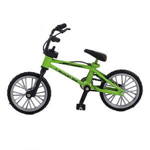 Mini Taille Simulation Alliage Finger Bike Enfants Kid Funnt Mini Finger Bike Jouet avec Corde De Frein Cadeau d'anniversaire – Vert