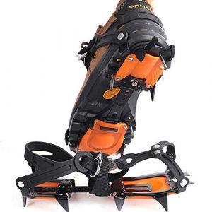 MINIRAH! Crampons Manganèse Escalade Sacs 10 Dents Crampons Glace Grippers Dispositif de Traction Alpinisme Glacier (Orange, 35-44)