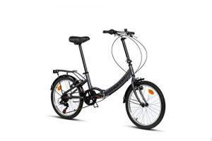 Moma Bikes II Grey Vélo de Ville Pliant First Class 20″, Aluminium, Shimano 6V, Selle Comfort Mixte Adulte, Gris, Unique