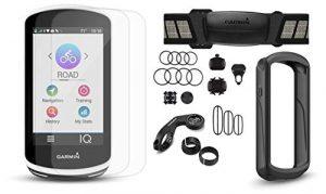MTSBW Ordinateur De Vélo avec Cardiofréquencemètre, Capteurs De Vitesse/Cadence, Étui en Silicone Playbetter Et Protecteurs D'écran en Verre   Supports De Vélo   Navigation GPS (+ Bundle, Black Case)