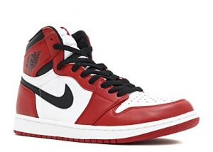 Nike Air Jordan 1 Retro High OG, Chaussures de Sport pour Homme – Multicolore – Blanc/Noir/Rouge (White/Black-Varsity Red), 42 1/2 EU