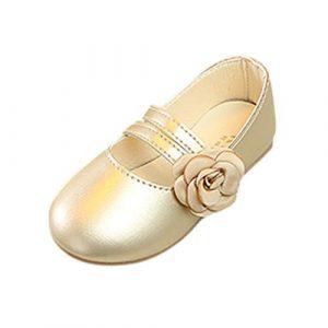 POIUDE BéBé Filles Sneaker Ballerines Chaussures De Princesse Chaussure Flat éTudiants Marche Simple LéGer Confortable 3-12 Ans(Or,7 Ans)