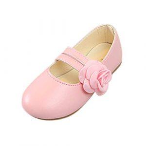 POIUDE BéBé Filles Sneaker Ballerines Chaussures De Princesse Chaussure Flat éTudiants Marche Simple LéGer Confortable 3-12 Ans(Rose,4-4.5 Ans)