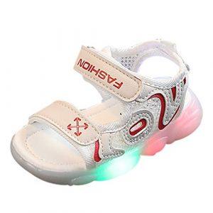 POIUDE Bébé Sneakers Led Sandales Chaussures Baskets Mode GarçOns Filles, Brillant Pansements Confortable Enfants LumièRe Up Lumineux Chaussures de Sport Running Pour 1-6 Ans(rouge,18-24 Mois)