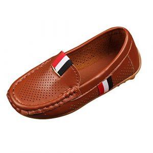 POIUDE Chaussure Enfant, Mixte Enfant Loisirs Confort Chaussures Fille GarçOn Fond Plat En Cuir Oxford Chaussure Pour 1-9 Ans(marron,8-8.5 Ans)