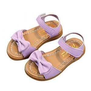 POIUDE Chaussures Pour BéBé, Chaussures de BéBé Bebe Girl Sandales En Cuir Bowknot D'éTé En Cuir Souple Chaussures Pour BéBé 1-9 Ans(Violet,7.5-8 Ans)