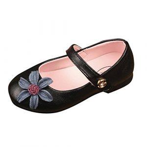 POIUDE Filles Ballerines Chaussures Tisser Mignon Floral dessin, Enfant Cuir Sneaker DéContractéE Unique Princesse Chaussures 2-7 Ans(Noir,2.5-3 Ans)