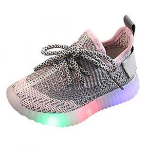 POIUDE Mixte Enfants Led Chaussures de Sport Lumineuse Clignotant Baskets Mode Ultra-LéGer Respirante Sneakers Pour GarçOns E Fille 1-6 Ans(Rose,4.5-5Ans