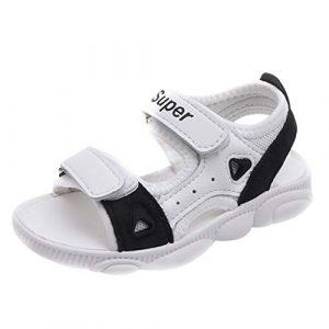 POIUDE Sandales Bébé Filles GarçOn Enfant Mixte Confortable Flexible Sandales de Plage En Cuir 18 Mois -9 Ans(Noir,8 Ans)