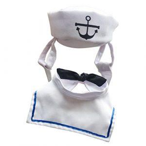 POPETPOP Costume de marin pour chiens costume de marin avec bonnet pour animaux domestiques