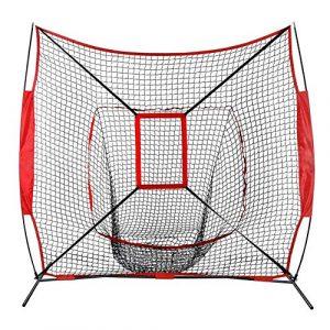 RANRANHOME Filet d'entraînement de Base-Ball et de Balle-Molle 7 x 7 avec Cadre en Arc/écran Pare-balles Matériel d'apprentissage 5.8kg