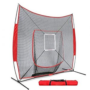 RANRANHOME Filet d'entraînement de Base-Ball et de Balle-Molle avec Cadre d'arc de 7″x 7″ / Écran Pare-balles Outils d'aide à la Formation | Cible de Zone de Frappe, intérieur et extérieur, 5,5 kg