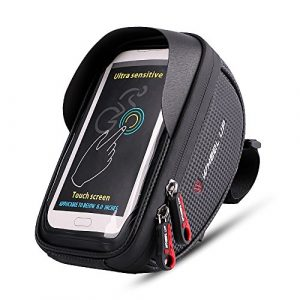 Sacoche de cadre vélo,Imperméable à l'eau Sacoches de Guidon pour iPhone 8 7 plus 6s 6 Plus 5s 5 / Samsung Galaxy S7 S6 Note 7 Bord 6inch Smartphone, Convient à tous les types de vélo