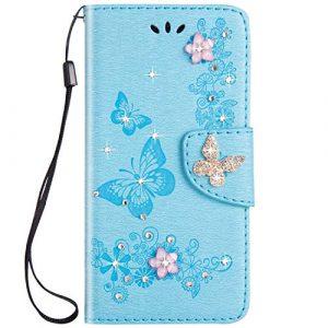SainCat Coque Compatible avec Samsung Galaxy S10 Ultra Mince Portefeuille Papillon Paillette Bling Bling Strass Flip Cuir Cover Fonction Support Antichoc Bumper Étui Case-Bleu