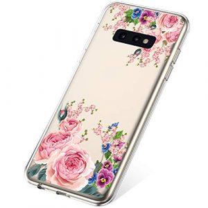 SainCat Coque Compatible avec Samsung Galaxy S10e Transparente Silicone avec Motif Ultra Slim Antichoc TPU Bumper Coque-Rose Rouge