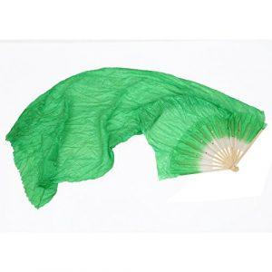 SODIAL eventail en bambou en soie long fait a la main pour la danse du ventre 1.8 m – Vert