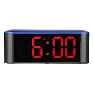 TechCode Réveil numérique, écran à LED Miroir Horloge 3 Modes Luminosité Horloge numérique réglable Horloge électronique avec Heure de répétition Température Température Veilleuse
