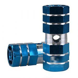 Tianu Bike Pied Pinces 1paire en alliage d'aluminium Pédale de vélo Sexangle Cylindre Convient pour essieux avant ou arrière, bleu
