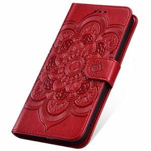SainCat Coque pour Xiaomi Mi 6X/Mi A2, Coque Cuir Portefeuille avec Fleur de Mandala Housse Protection avec Fermoire Magnétique Stand Fonction Support Flip Coque pour Xiaomi Mi 6X/Mi A2-Rouge