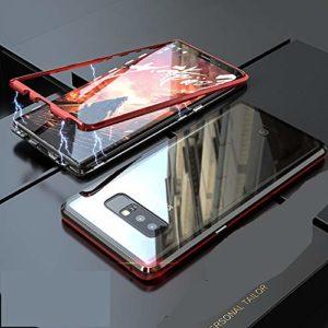 Miagon Magnétique Coque pour Galaxy S8 Plus, Rouge Métal Cadre Avant et Noir Verre Trempé Arrière Très Mince Tout Le Corps Rigide Cover Étui Housse pour Samsung Galaxy S8 Plus