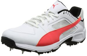 Puma Team Full Spike, Chaussures de Cricket Homme, Blanc (White-Fiery Coral-Black), 43 EU