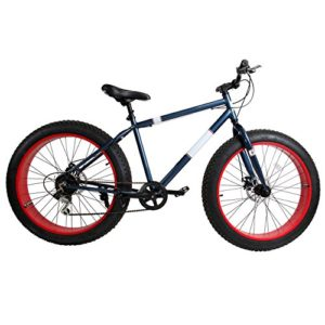 Ridgeyard Vélo Tout Terrain 26″ 7 Vitesse Fat Bike Mountain Bike Cruiser Bicycle Beach Ride Travel Sport (Bleu Marine)