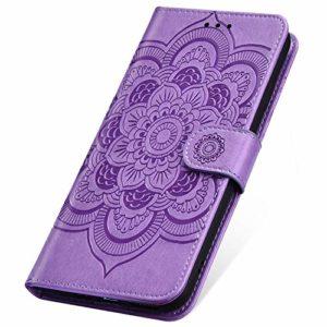 SainCat Coque pour LG G8 ThinQ, Coque Cuir Portefeuille avec Fleur de Mandala Housse Protection avec Fermoire Magnétique Stand Fonction Support Flip Coque pour LG G8 ThinQ-Pourpre