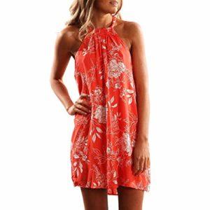 Chaofanjiancai Robe d'été à Volants pour Femme Motif Floral – – Taille S