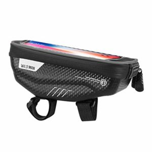 Generic E1 Vélo Écran Tactile Cadre Téléphone Sac De Vélo De Montagne Étanche Poignée Bar Sac Tube Avant Tube pour Smartphone GPS Cas – Noir