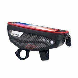 Generic E1 Vélo Ecran Tactile Cadre Téléphone Sac De Vélo De Montagne Étanche Poignée Bar Sac Tube Avant Tube pour Smartphone GPS Cas – Rouge