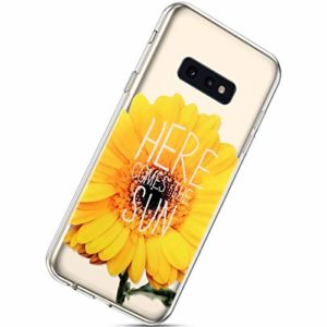 Herbests Coque Galaxy S10e Silicone, Galaxy S10e Coque Transparent Case Bumper House Ultra Slim Coque avec Motif Ultra Fine Anti Choc Housse de Protection pour Homme Femme,Tournesol