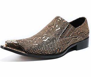 LOVDRAM Chaussures en Cuir pour Hommes Gold Silver Color Men Dress Shoes Genuine Leather Luxury Fashion Groom Wedding Shoes Men Oxford Shoes Metal Toes Shoe 7 Gold