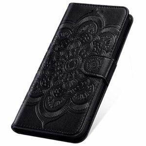 SainCat Coque pour LG V40 ThinQ, Coque Cuir Portefeuille avec Fleur de Mandala Housse Protection avec Fermoire Magnétique Stand Fonction Support Flip Coque pour LG V40 ThinQ-Noir