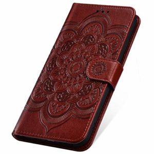 SainCat Coque pour Xiaomi Redmi Go, Coque Cuir Portefeuille avec Fleur de Mandala Housse Protection avec Fermoire Magnétique Stand Fonction Support Flip Coque pour Xiaomi Redmi Go-Brown