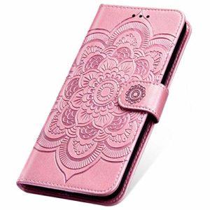 SainCat Coque pour Xiaomi Redmi Go, Coque Cuir Portefeuille avec Fleur de Mandala Housse Protection avec Fermoire Magnétique Stand Fonction Support Flip Coque pour Xiaomi Redmi Go-Or Rose