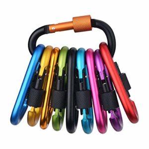 Tougo 10 PCS Mousqueton Porte clé Mousquetons Aluminium D-Anneau Crochet pour Camping, Pêche,Randonnée,Voyages, la maison, Sac à dos, et porte-clés