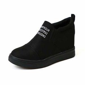 Basket Compensee Femme Cuir Montantes Bottine Daim Cheville Plateforme 7 CM Haute Loafers Plate Sneakers Mode Casuel Chic Noir 39