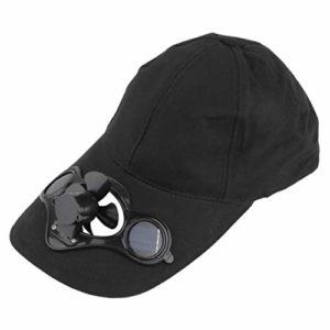 HIPENGYANBAIHU Chapeau de Chapeau de Sport de pêche d'été en Plein air avec Ventilateur Solaire à énergie Solaire pour Refroidir l'énergie du vélo, Aucune Pile requise, Noir