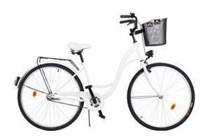 Milord. 2018 Vélo de Confort avec Panier, Byciclette, Vélo Femme, Vélo de ville, 1 Vitesse, Blanc, 28 Pouces