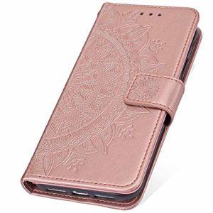 SainCat Coque pour Sony Xperia XZ2 Compact, Etui en Cuir Fleur Ultra Mince Portefeuille Emplacement pour Cartes + Fermeture Magnétique Bumper Antichoc Coque pour Sony Xperia XZ2 Compact-Or Rose