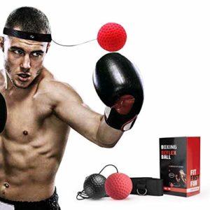 Balle de Combat, Ballon de Boxe avec Bandeau de Tête, pour La Formation de Vitesse Réflexe Avec les techniques de base des arts martiaux Améliore Votre Vitesse, Coordination, Réflexes