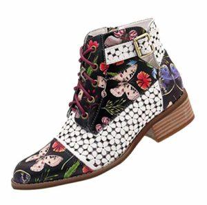 Femmes Plates Basse Cuir Bottes Chelsea Chic,Imprime Fleuri Bottes Bottines à Lacets Zippé Pas Cher Boots Cheville Taille 35-43