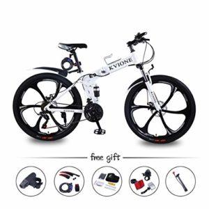 KVIONE E9 VTT Tout Suspendu 21 Vitesses Vélo Pliable Equipé Shimano Freins a Disque Double Roues de 26″ pour Hommes Femmes