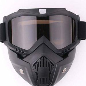 RuoLin Lunettes de Moto – Lunettes de Protection – Masque de Protection Anti-Sable – Lunettes de Casque – Lunettes de Ski – Super résistance aux Chocs, Eponge Haute densité – Taille Unique (Brown)